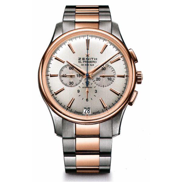 Материал: 18-каратное розовое золото и нержавеющая сталь. Выпуклое... Zenith Captain Chronograph Зенитх Каптаин